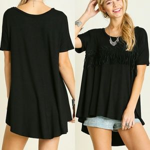 2 LEFT! Fringe Solid Black High Low Oversized Top